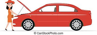 Vector cartoon woman opened hood of the automobile - Vector...