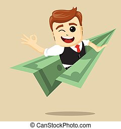 Vector businessman flying on dollar plane.