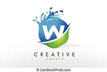 W Letter Logo. Blue Green Splash Design Vector