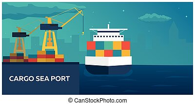 Sea transportation logistic. Sea Freight. Maritime shipping....