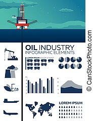 Infographic elements of Oil Industry. Sea. Oil platform....
