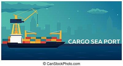 Sea transportation logistic. Sea Freight. Maritime shipping....