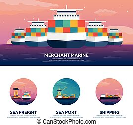 Set of Sea transportation logistic. Sea Freight. Maritime...