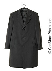 Male long overcoat | Isolated - Autumn black coat made of...