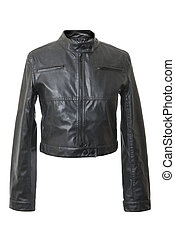 Female leather jacket | Isolated - Black and short female...