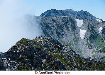 Climbers descending Mt. Turugidake