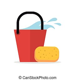 Cleaning Web Banner. Bucket with Water and Sponge