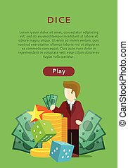 Dice Casino Banner. Online Play Concept. - Dice casino...