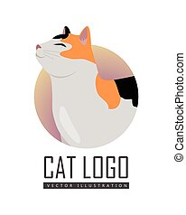 Calico Cat Vector Flat Design Illustration - Calico cat...