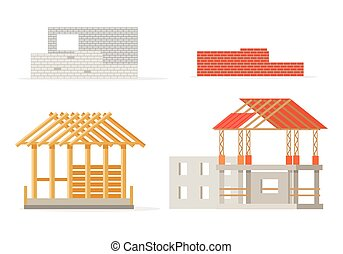 Industrial Process of Building New House. Stages -...