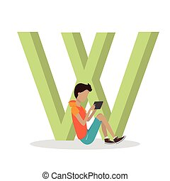 W Letter and Boy Playing on Tablet. ABC Vector - W letter...