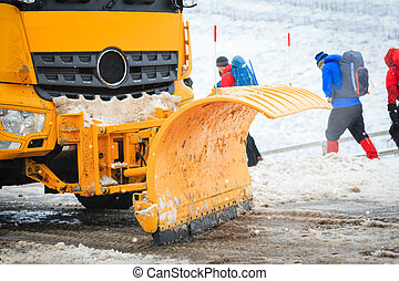 Snow Plough - close up snow plough shovel in action