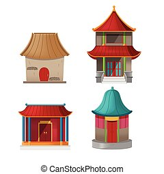 China House Design Collection Set Vector