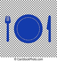 Fork, plate and knife. Blue icon on transparent background.