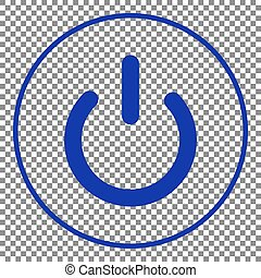 On Off switch sign. Blue icon on transparent background.