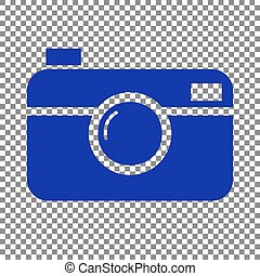 Digital photo camera sign. Blue icon on transparent...