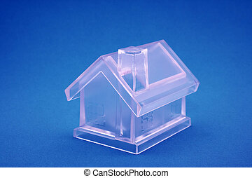 Crystal house on blue background