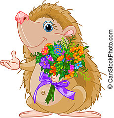 Cute little Hedgehog giving a bouquet and pointing