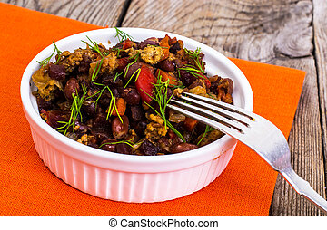Mexican dish, minced beef with chilli. Studio Photo
