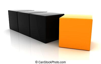 orange and black cube 3D