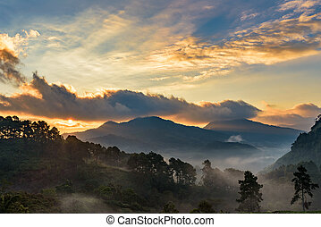 Beautiful Mountain with cloud and mist at dawn