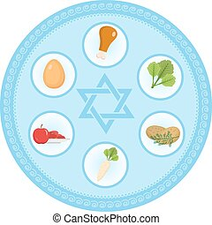 Seder plate of food, flat style. Jewish holiday Passover....