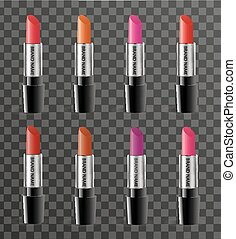 Realistic lipstick package template for your design. Rouge...