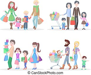 Happy Family Buying Goods and Gifts in Stores - Set of four...