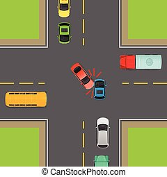 General Traffic Rules. Turn Left at Crossroads. - Accident...