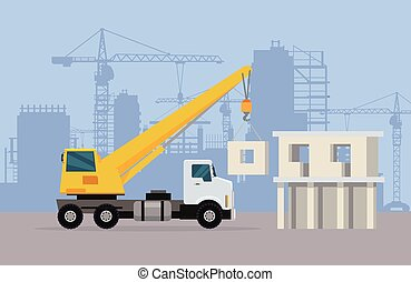 Truck Crane on Background of Building Area. Vector - Truck...