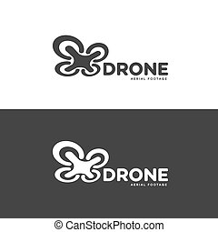 Set of drone and quadrocopter logo isolated on white and...