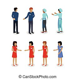 Set of Sellers Characters Vector Shop Assistans - Set of...