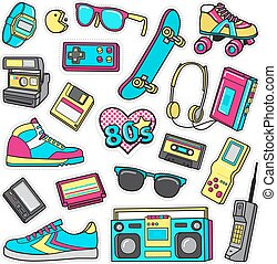 Patch Icons of 80 s. On White Limited Background. - Boys...