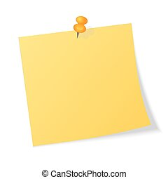Yellow sticker pinned push button with curled corner isolated on white background ready for your message. Vector illustration
