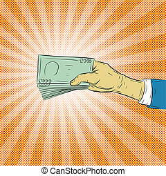 Hand holding money vector on halftone background.Hand with...