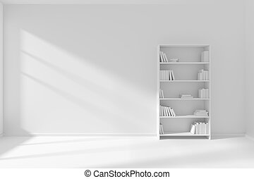 Empty white room with white bookcase minimalist interior -...
