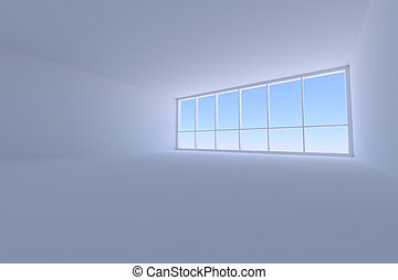 Empty blue business office room with large window