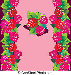 Raspberries - Raspberries on pink background with place to...