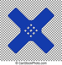 Aid sticker sign. Blue icon on transparent background.