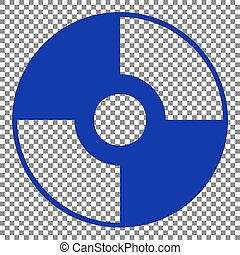 Vector CD or DVD sign. Blue icon on transparent background.