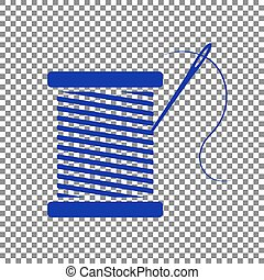 Thread with needle sign illustration. Blue icon on transparent b
