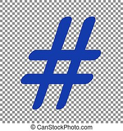 Hashtag sign illustration. Blue icon on transparent...