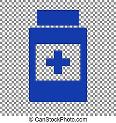 Medical container sign. Blue icon on transparent background.