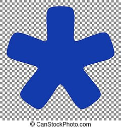 Asterisk star sign. Blue icon on transparent background.