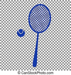 Tennis racquet sign. Blue icon on transparent background.