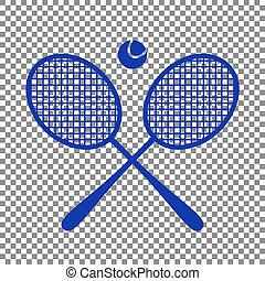 Tennis racket sign. Blue icon on transparent background.