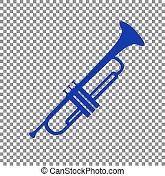 Musical instrument Trumpet sign. Blue icon on transparent...