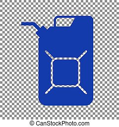 Jerrycan oil sign. Jerry can oil sign. Blue icon on...