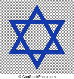 Shield Magen David Star. Symbol of Israel. Blue icon on...