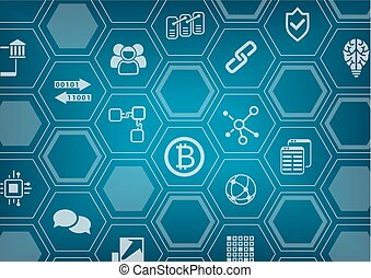 Bitcoin and blockchain blue vector background with polygon...